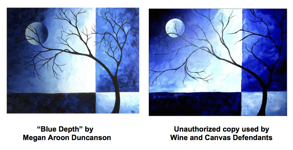 Image of Blue Depth from Wine and Canvas lawsuit