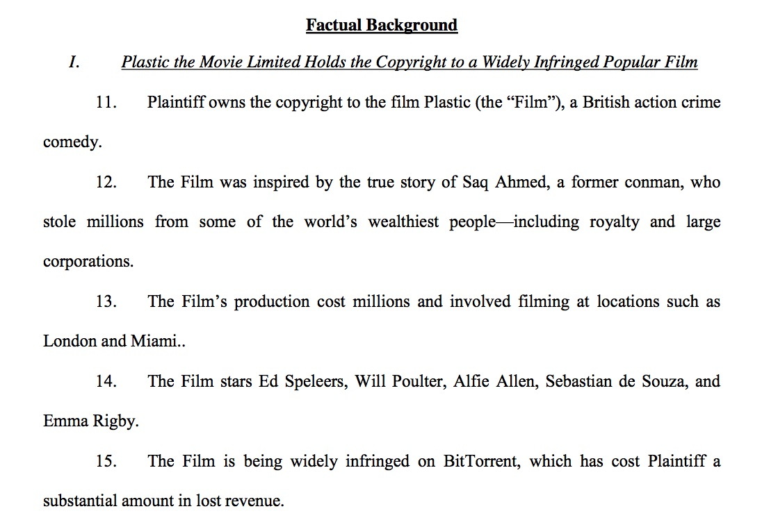Plastic the Movie Lawsuits in Florida