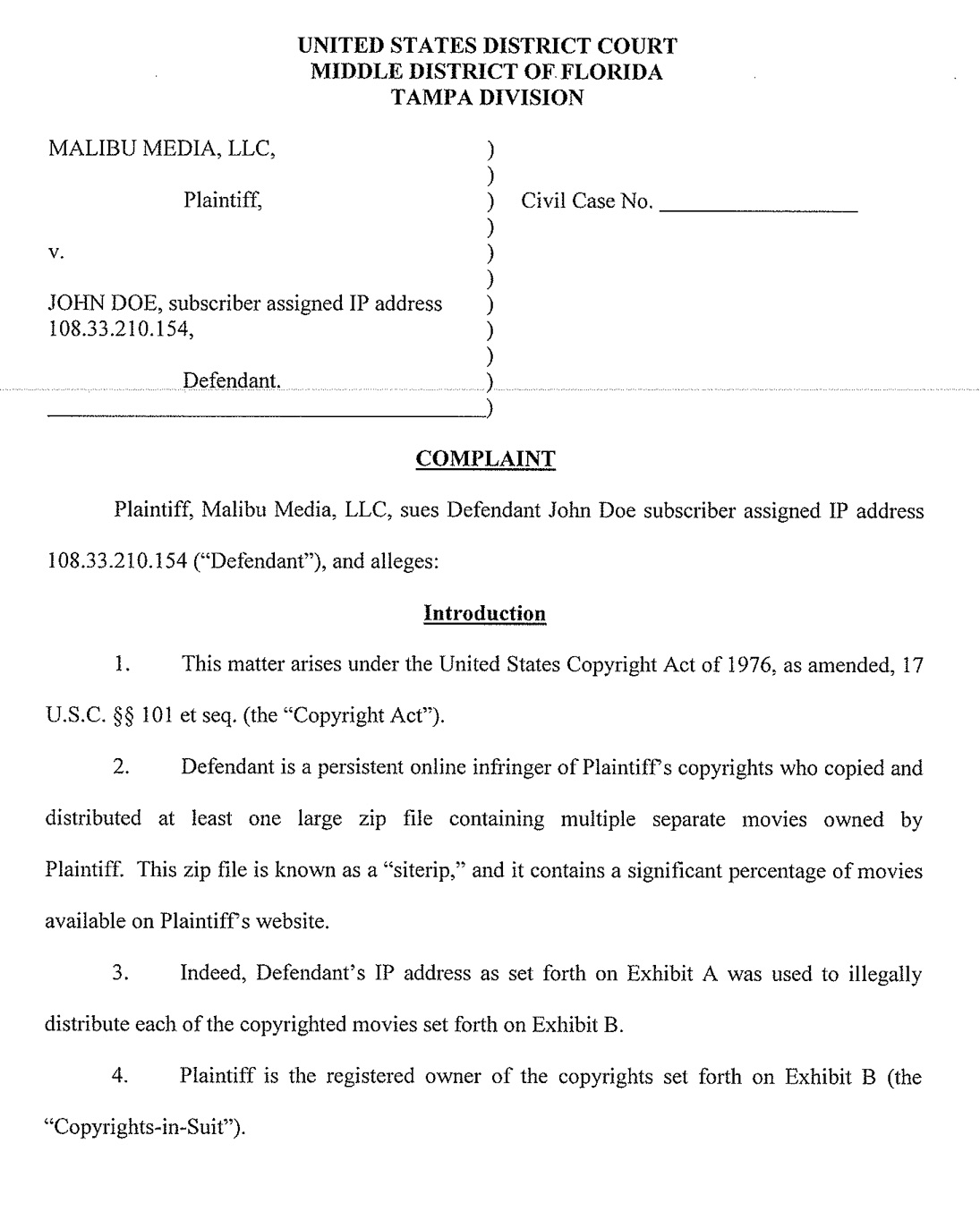 6 New Malibu Media Lawsuits Were Filed In Florida Today