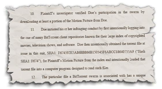detail from a criminal productions lawsuit complaint